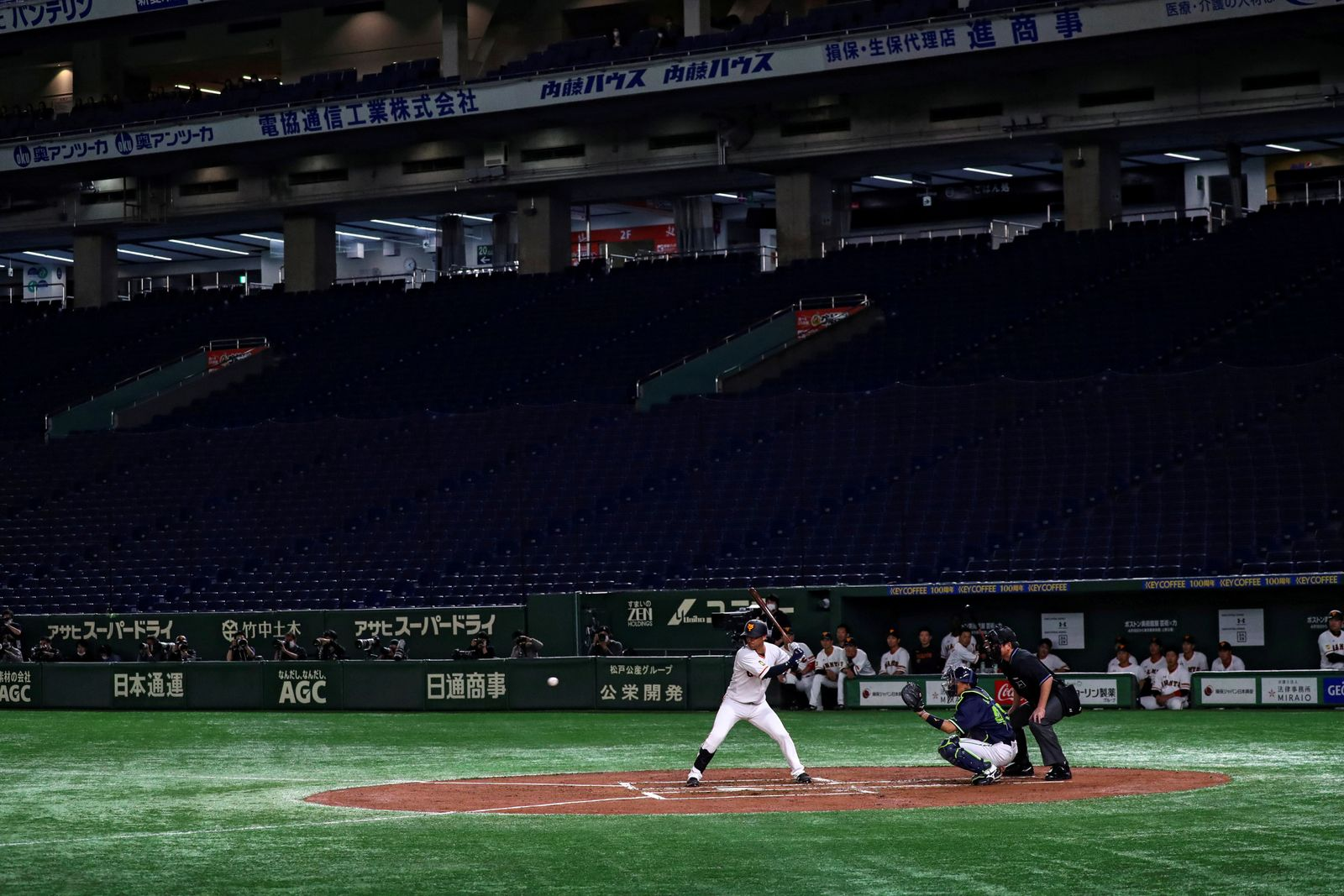 Spectator's stands are seen empty during the preseason of the baseball game of Yomiuri Giants and Tokyo Yakult Swallows, which is taking place behind closed doors amid the spread of the new coronavirus, at the Tokyo Dome in Tokyo