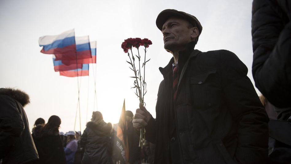 Demonstration anlässlich des Anschlags in der Sankt Petersburger U-Bahn am 6.4.2017 in Moskau