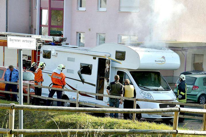 Ausgebranntes Wohnmobil in Eisenach (November 2011)