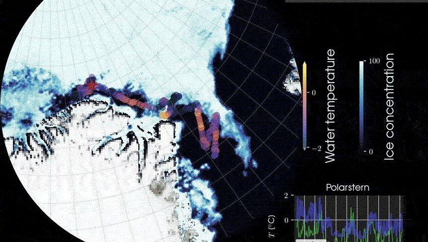"""Fehlendes Eis auf der Route der """"Polarstern"""" vor Grönland"""