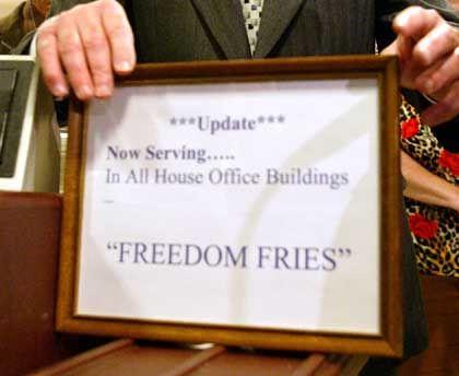 Fritten-Schild in Parlaments-Cafeteria: Lieber freie als französische