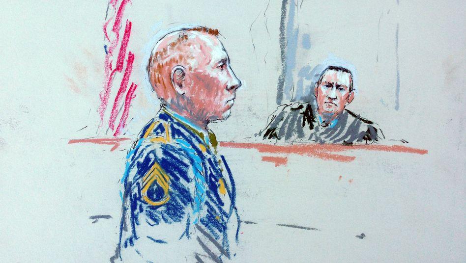Bales auf einer Zeichnung aus dem Gericht: Keine Chance auf Bewährung