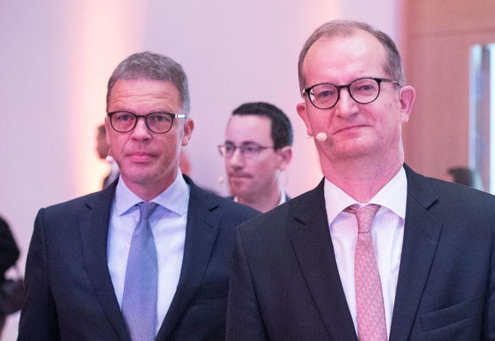 Christian Sewing (links) und Martin Zielke (rechts) kürzlich in Frankfurt