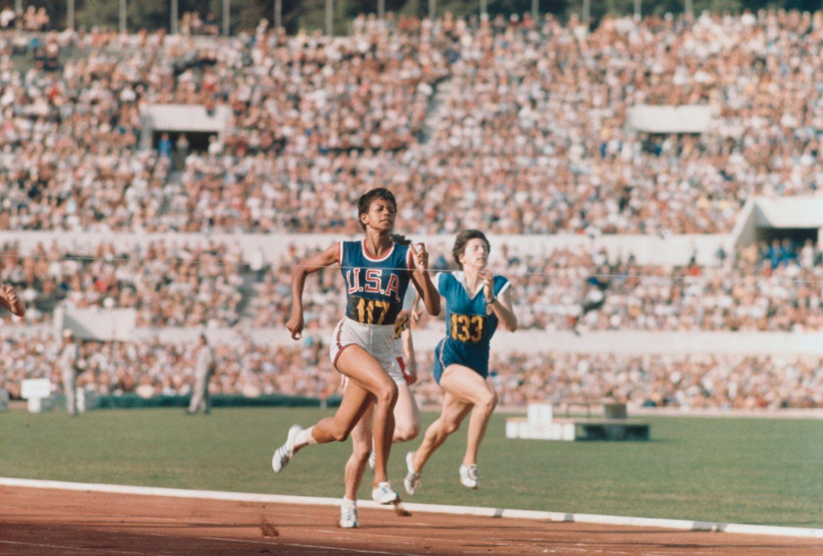 Wilma Rudolph Sprinting in 1960 Summer Olympics