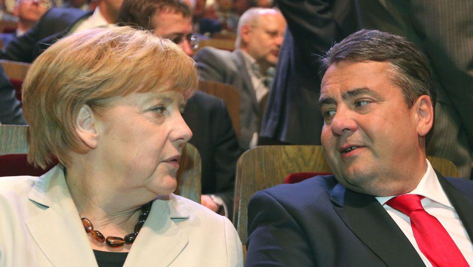 Kanzlerin Merkel, SPD-Chef Gabriel: Gespräche über Große Koalition?