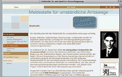 Webseite Kafka.be: 3800 Hinweise von Bürgern