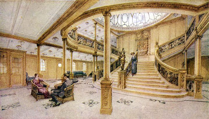 Prunkvoll: Die Haupttreppe des Luxusliners »Titanic«, 1912