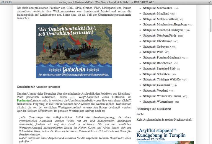 Screenshot von der Partei-Webseite