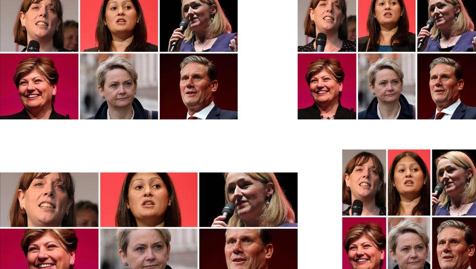 Mögliche Labour-Kandidaten: Jess Philipps, Lisa Nandy, Rebecca Long-Bailey, Emily Thornberry, Yvette Cooper, Keir Starmer (v.l.)