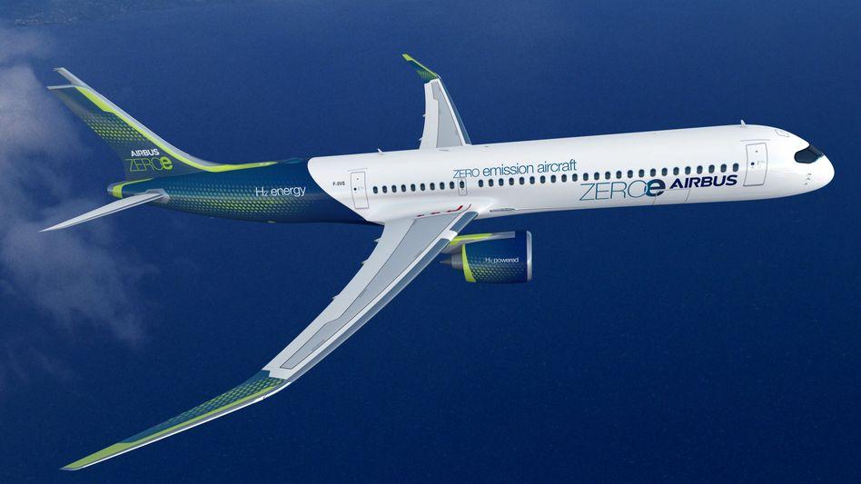 Konzept eines wasserstoffbetriebenen Airbus-Jets, mit dem zum Beispiel Strecken innerhalb Europas bedient werden könnten