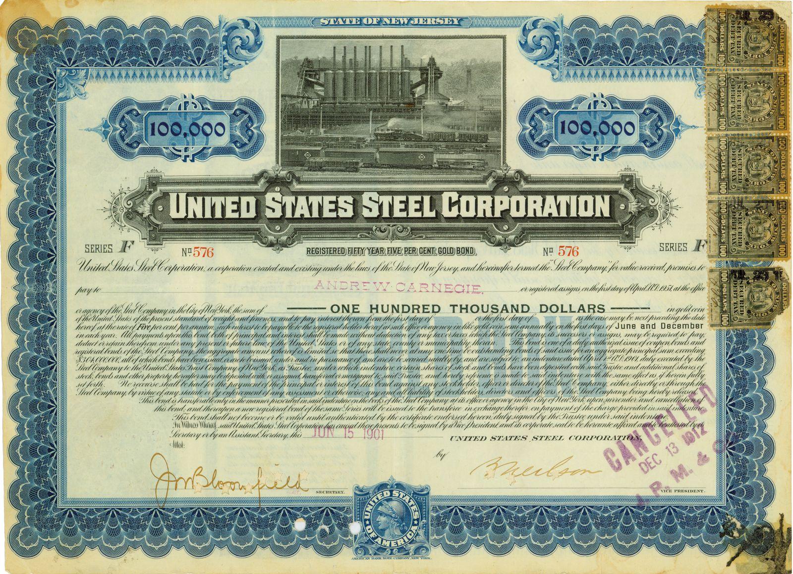 EINMALIGE VERWENDUNG Historisches Wertpapier mit Signatur Andrew Carnegie