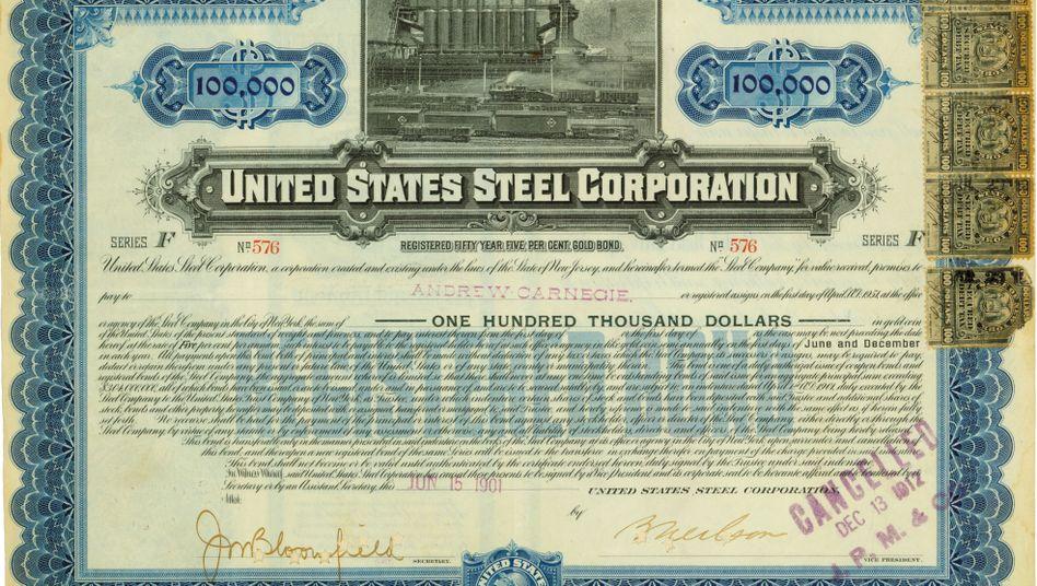 Historische Anleihe mit Signatur von Andrew Carnegie