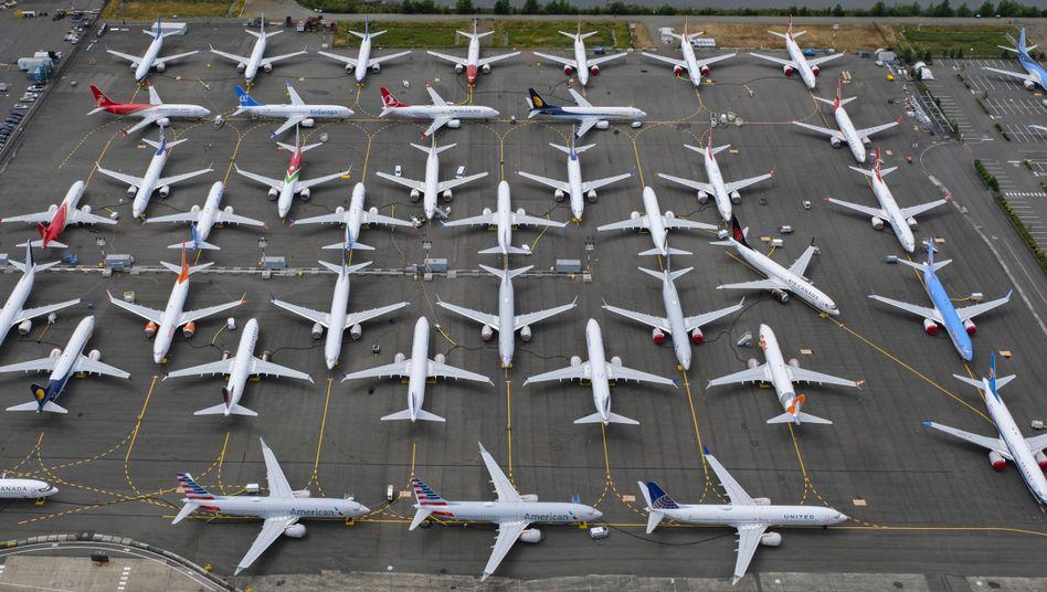 Eingelagerte Boeing-Flugzeuge des Typs 737 Max in Seattle.