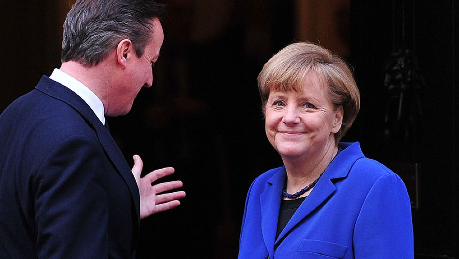 "British Prime Minister David Cameron greets Angela Merkel outside 10 Downing Street in London in February. The German chancellor has described ""nonchalant"" chatter in Germany of Britain leaving the EU as ""extremely negiligent."""
