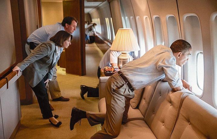 """Staatschef Obama in der """"Air Force One"""" 2013"""