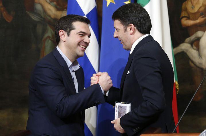 Regierungschefs Tsipras, Renzi in Rom: Treffen der Euro-Rockstars