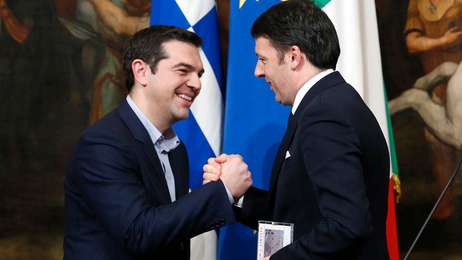 Griechenlands Premier Tsipras (l.), italienischer Amtskollege Renzi