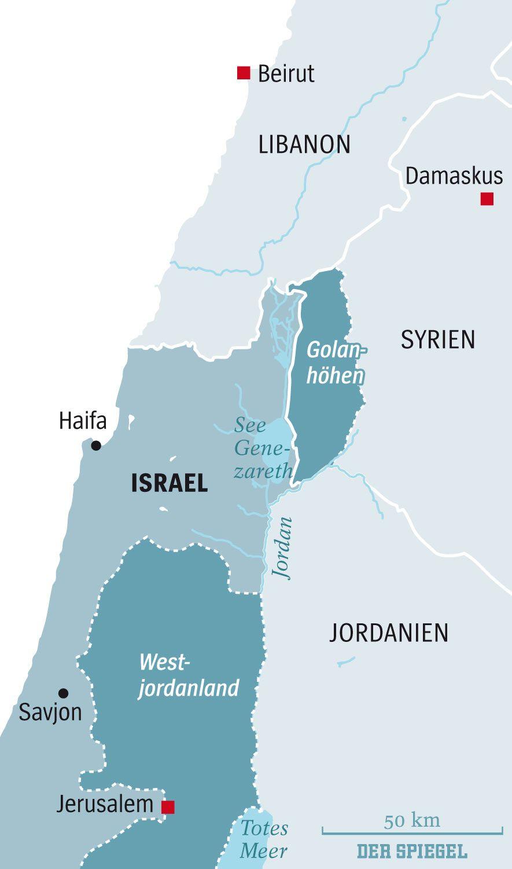 Karte Golanhöhen und Nachbarländer