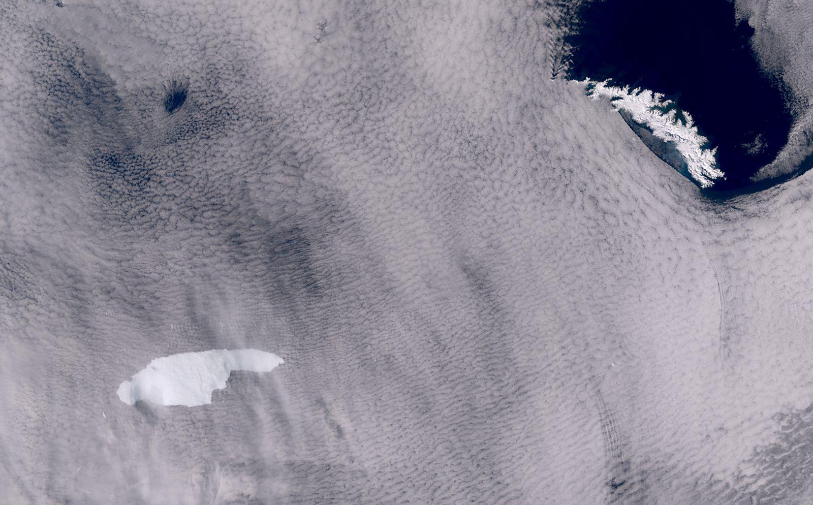 Eisberg A68 auf Kollisionskurs mit der antarktischen Insel Südgeorgien