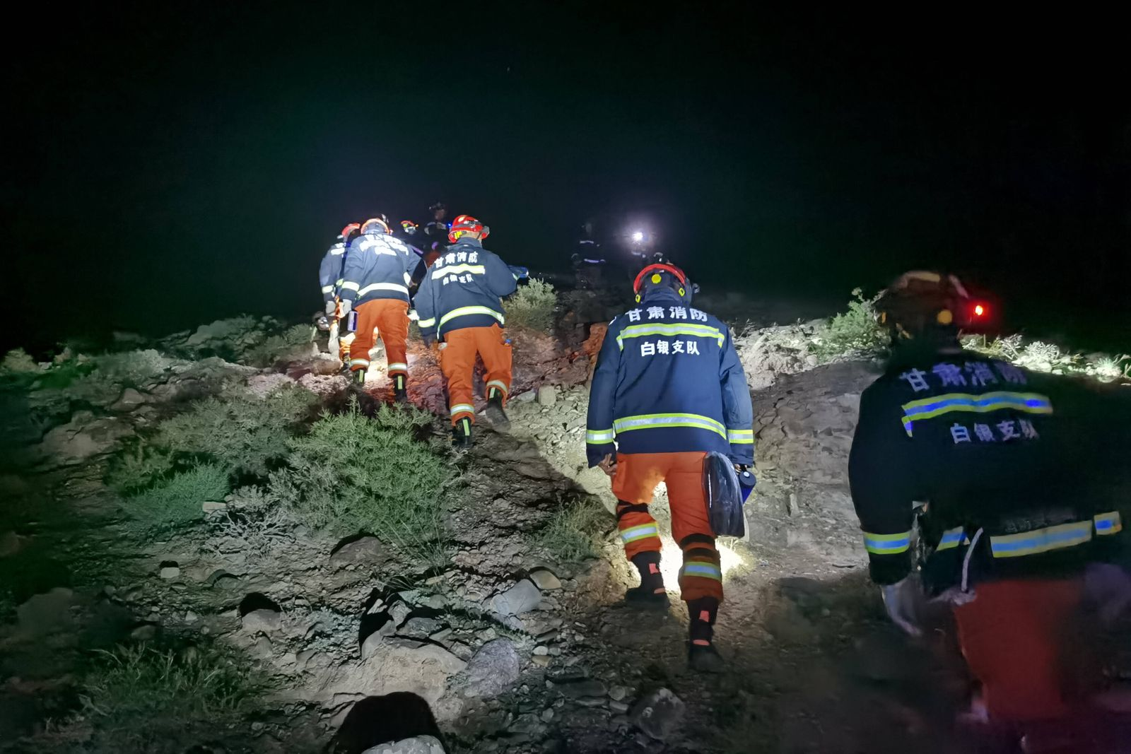 (210523) -- JINGTAI, May 23, 2021 () -- Rescuers search for missing people at the Yellow River Stone Forest tourist sit