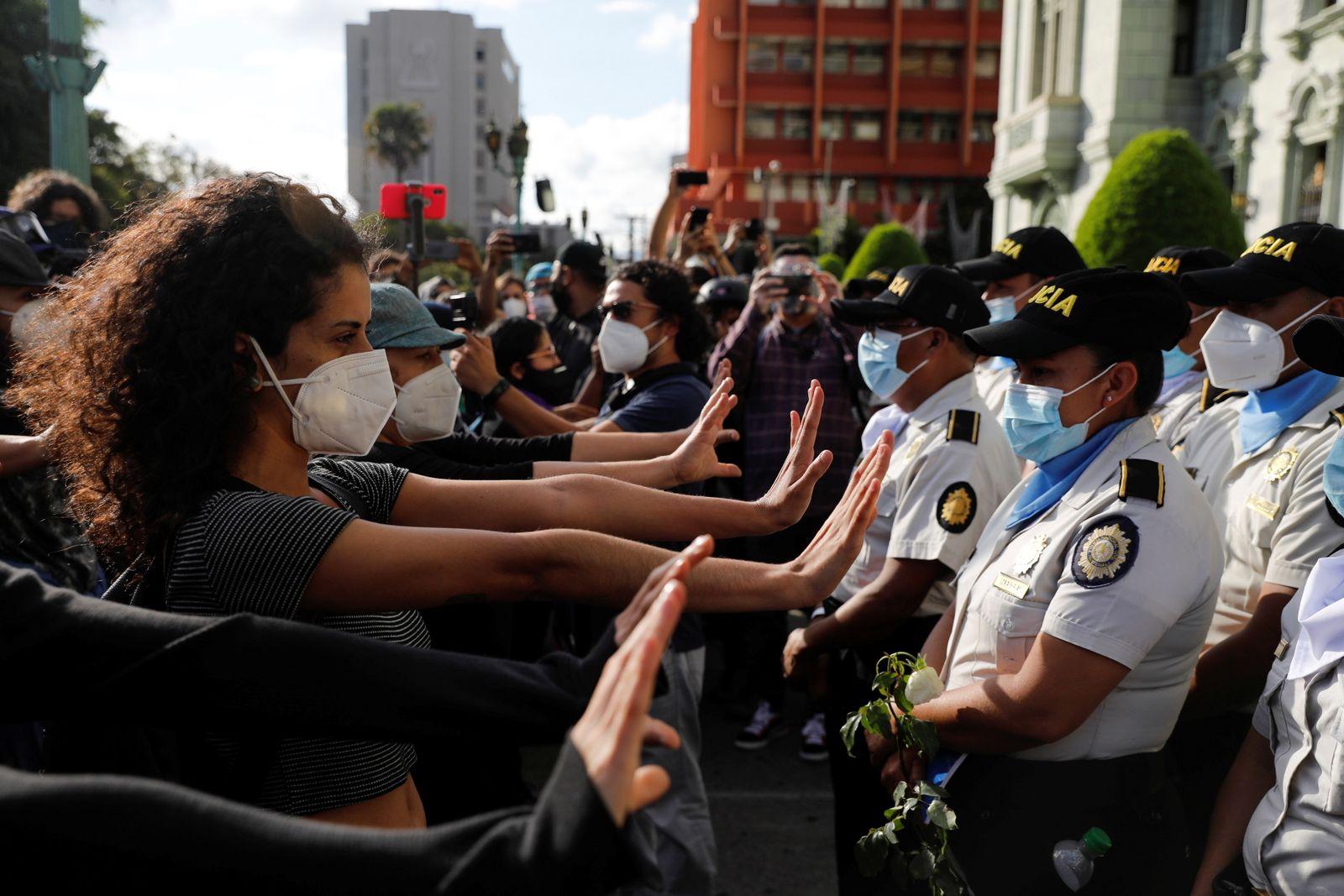 Protest demanding the resignation of Guatemala's President Alejandro Giammattei in Guatemala City