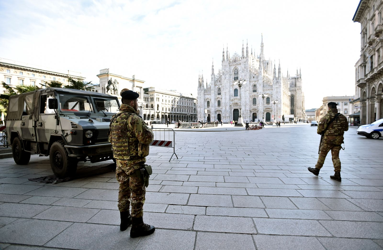 Military are seen on Duomo square after the Italian government imposed a virtual lockdown on the north of the country, in Milan