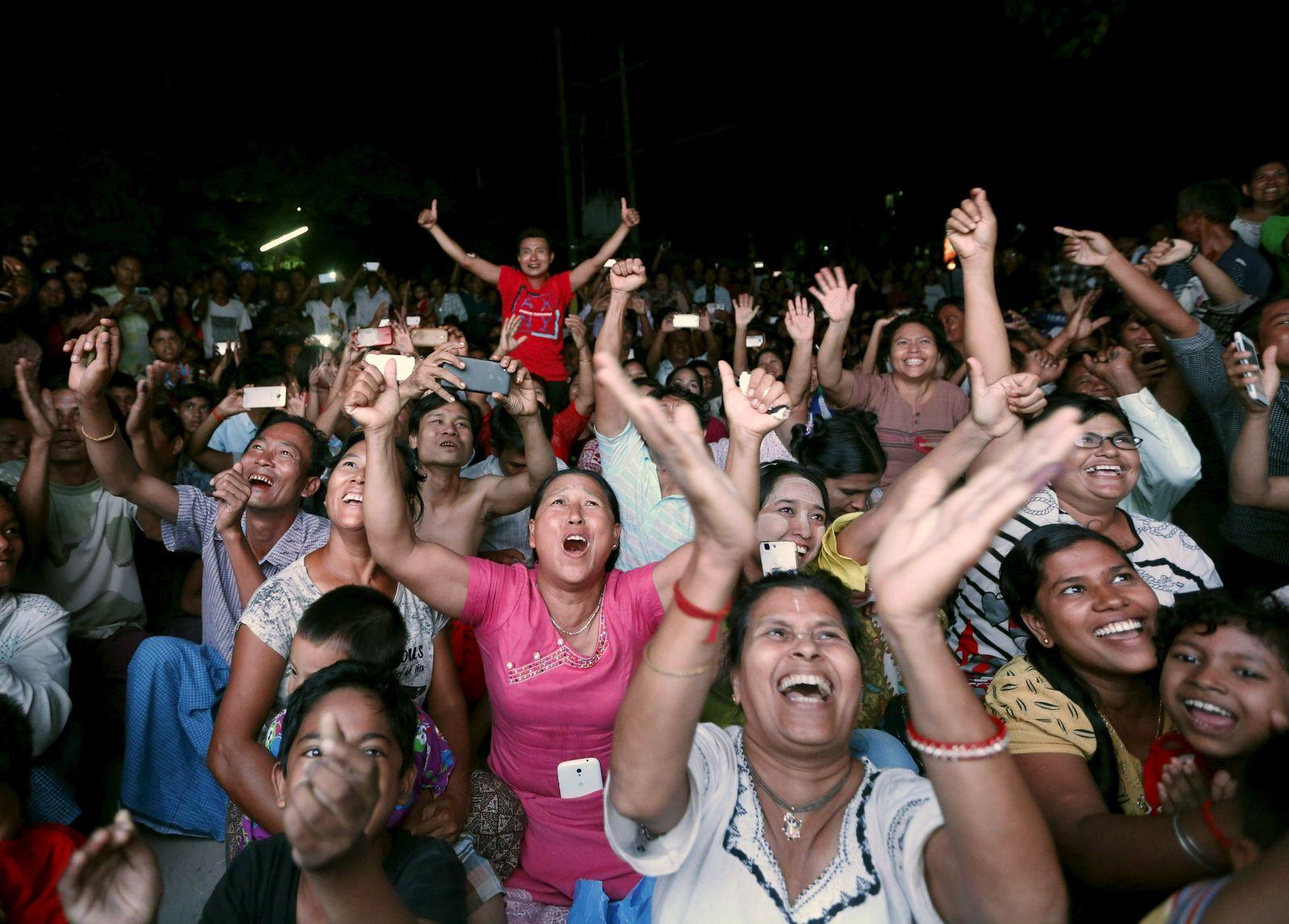 Burma Wahlen Jubel