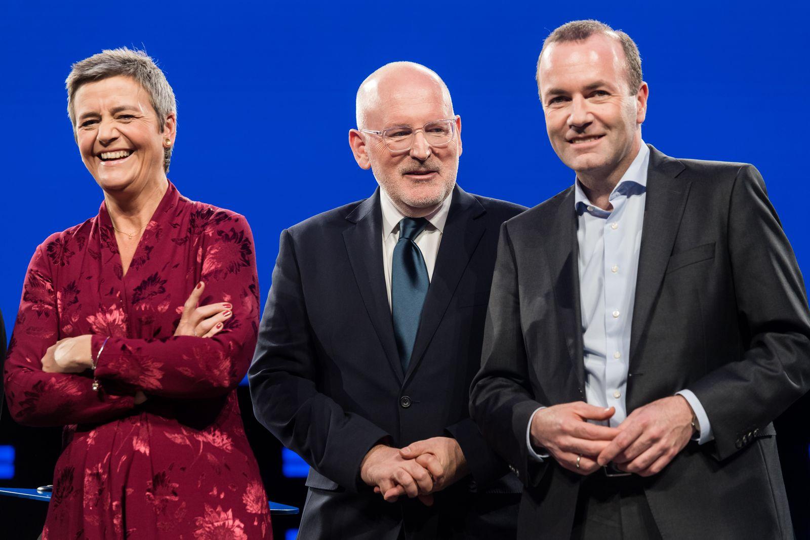 EINMALIGE VERWENDUNG Margrethe Vestager / Frans Timmermans / Manfred Weber