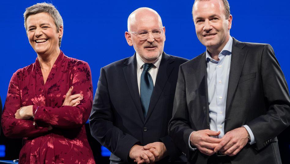 Kandidaten für den EU-Kommissionsvorsitz (v.l.): Margrethe Vestager, Frans Timmermans, Manfred Weber