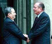 Ehud Barak und Jacques Chirac in Paris