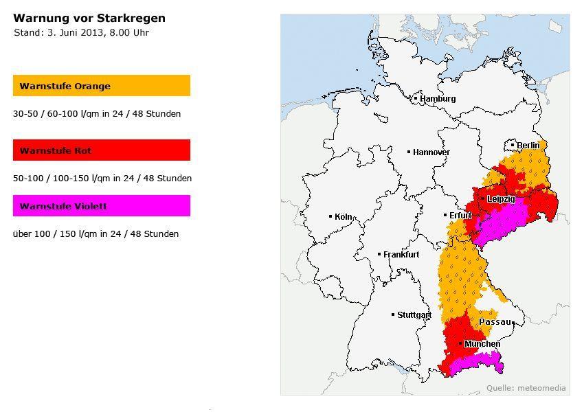 Karte Hochwasser - Starkregen - Stand: 3.6.2013