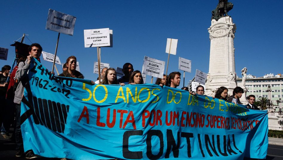 Portuguese students protesting in Lisbon this month -- they have poor job prospects at home.