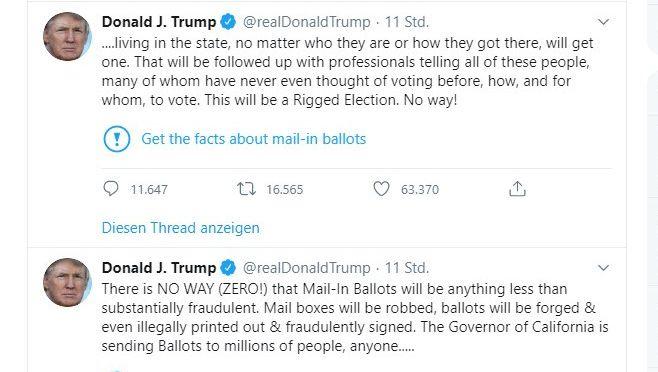 Screenshot von Trump-Tweet mit Twitter-Anmerkung