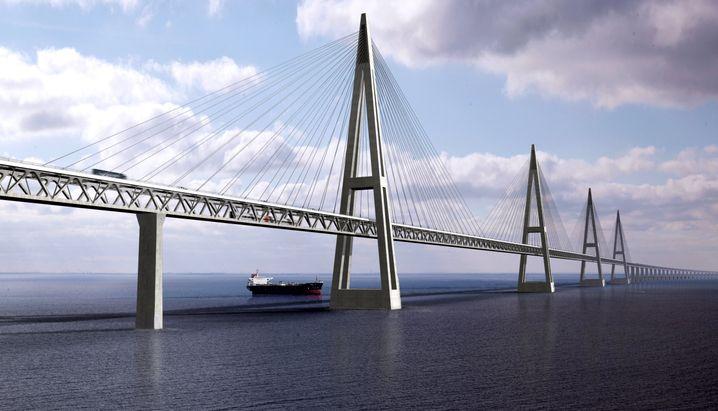 Geplante Fehmarnbelt-Brücke (Computergrafik): Noch hat der Bau nicht begonnen
