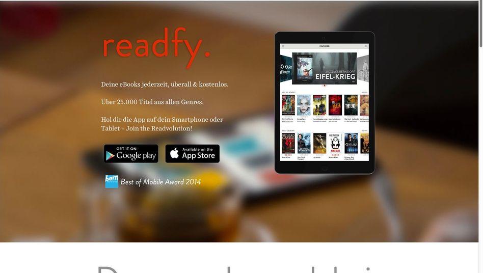Readfy-Website: Kostenlos E-Books lesen, dafür Anzeigen sehen