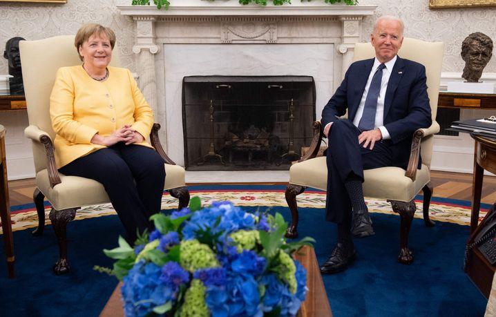 Bundeskanzlerin Angela Merkel zu Besuch bei US-Präsident Joe Biden im Oval Office am 15. Juli