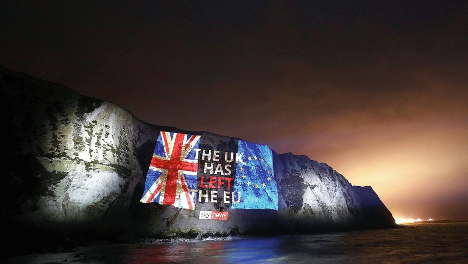 A projection on the White Cliffs of Dover on Jan. 31