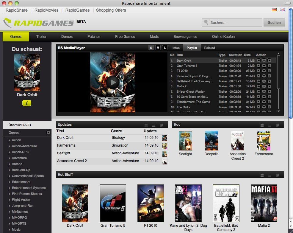 SCREENSHOT RapidGames / Beta RapidShare Entertainment