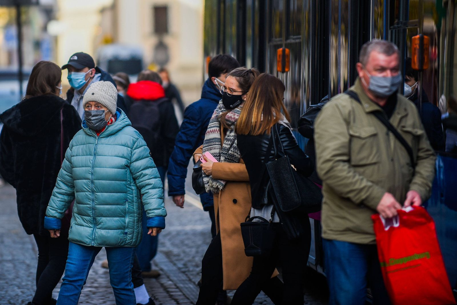 November 19, 2020, Krakow, Poland: People wearing protective face masks as a preventive measure against the spread of co