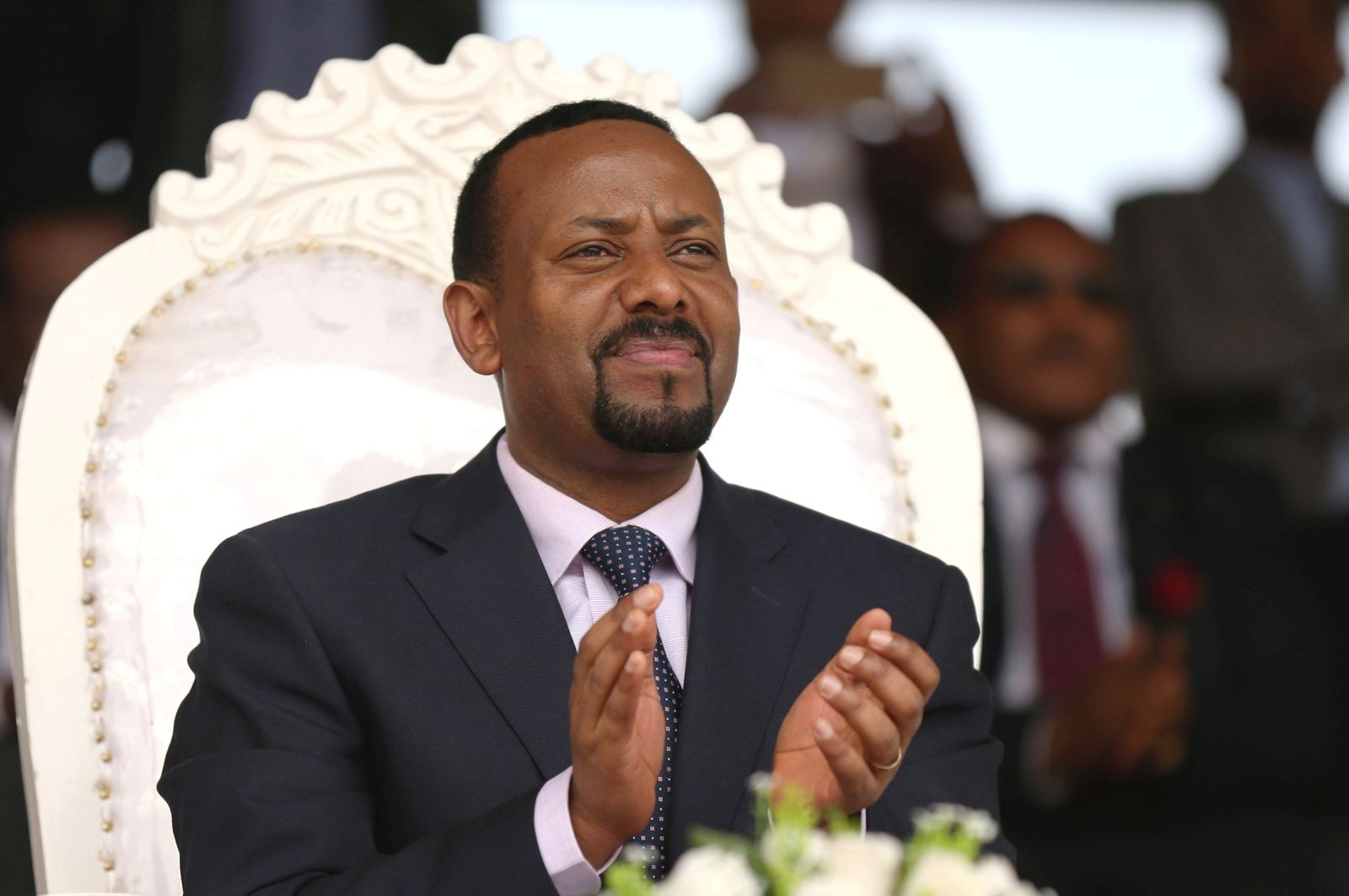 FILE PHOTO: Ethiopia's new prime minister Abiy Ahmed attends a rally during his visit to Ambo in the Oromiya region