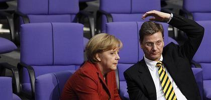 CDU-Politikerin Merkel, FDP-Kollege Westerwelle: Koalitionsaussagen künftig nur auf Gegenseitigkeit