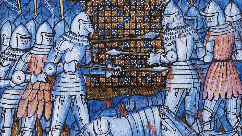 Tod:Trotz schwerer Rüstung zum Schutz war das Sterben damals alltäglich. Hier traf es 1369 den englischen Ritter John Chandos (Illustration aus einer zeitgenössischen Chronik).