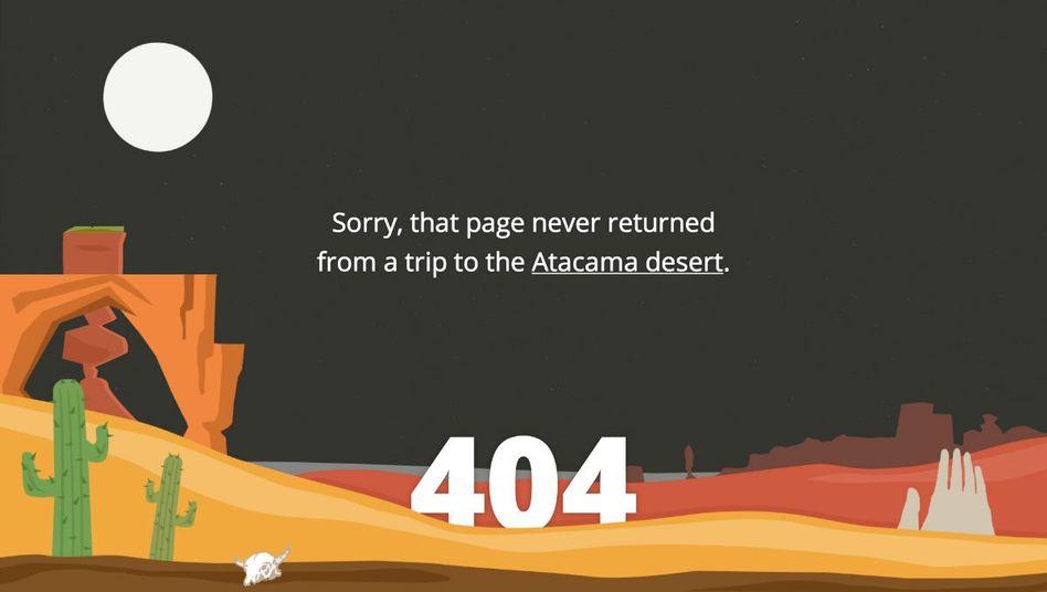 So sieht die Fehlerseite eines Reiseportals aus