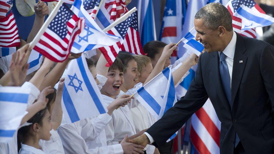 Barack Obama mit Schulkindern in Jerusalem: Begeisterung