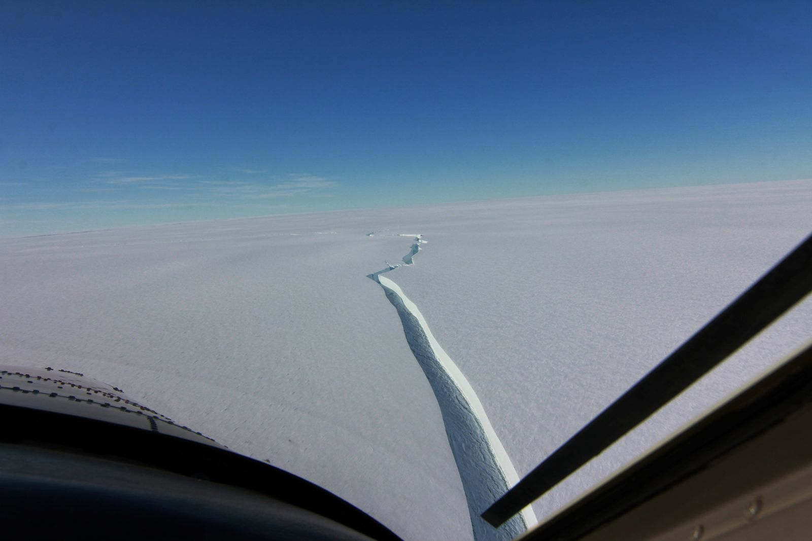 A crack called the North Rift formed on the Brunt Ice Shelf is seen in Antarctica