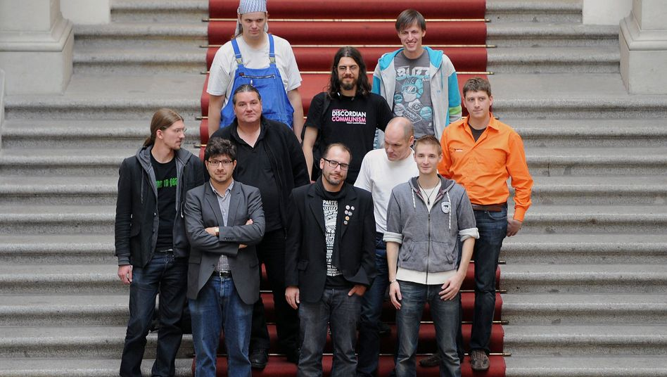 Some of the 15 Pirate Party delegates who will soon take their seats in Berlin's city-state parliament.