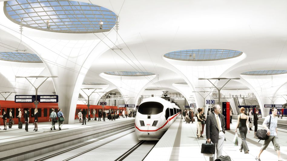 """A computer simulation of the planned underground train station in Stuttgart: """"It will be built."""""""