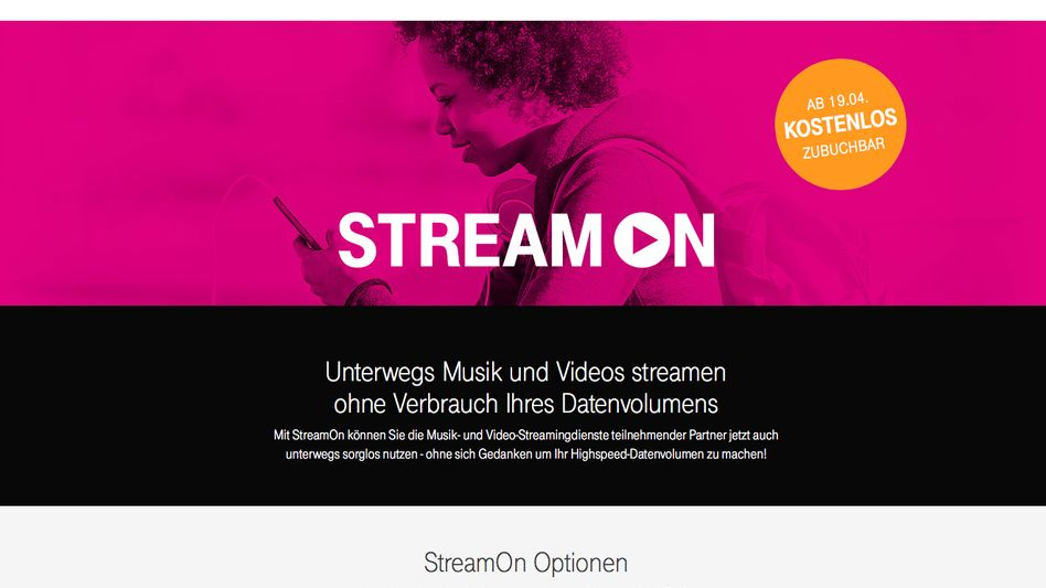 Telekom-Website zu StreamOn