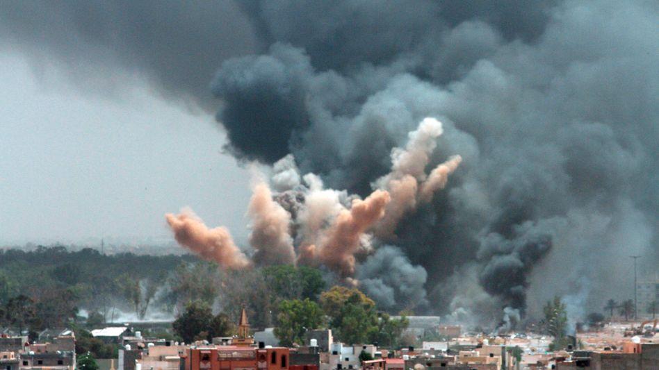 A NATO air strike in Tripoli on June 7.