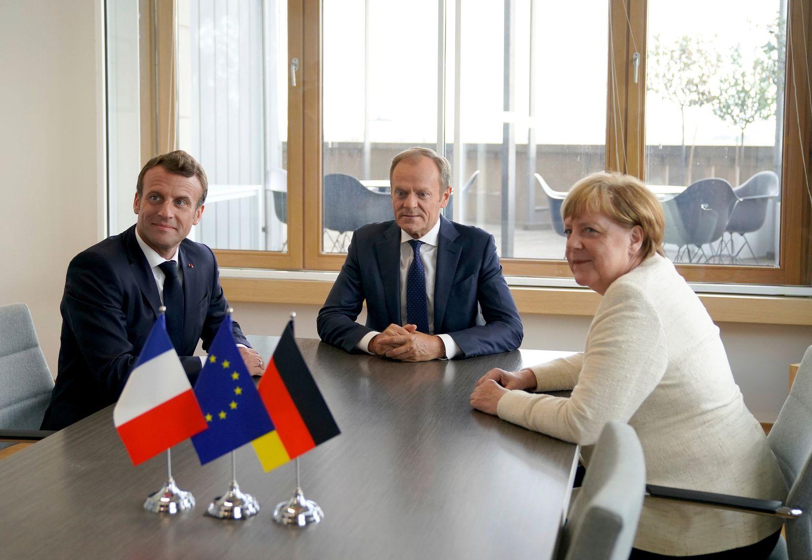 EU-Gipfel in Brüssel Angela Merkel Emmanuel Macron Donald Tusk